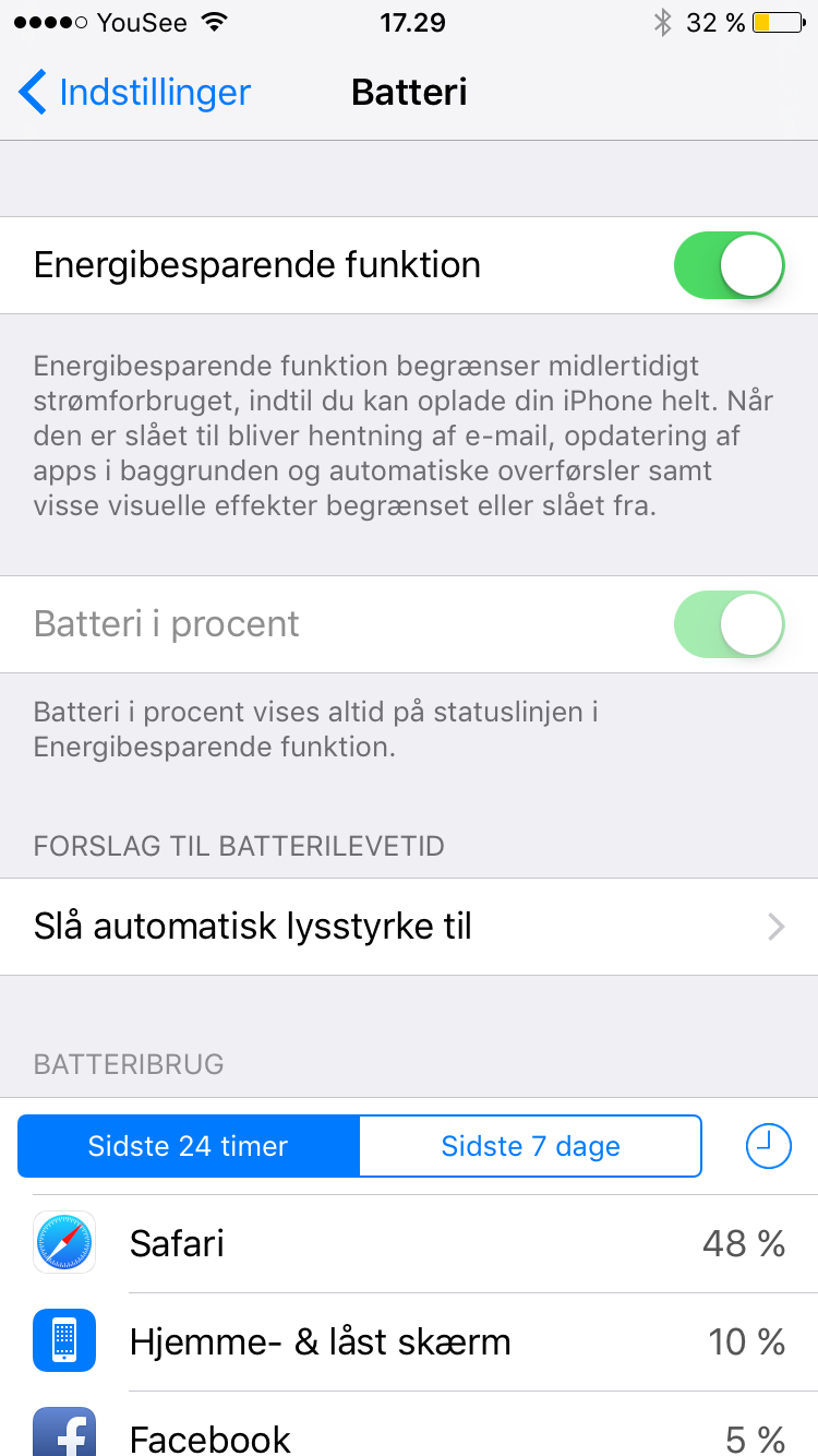 iOS9 batteri sparre funktion