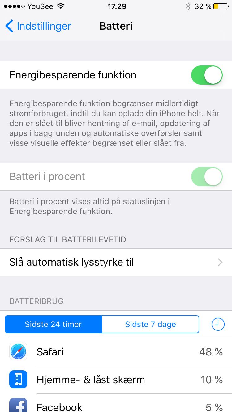 iOS9 batteri sparre funktion