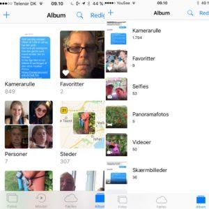 Visning af Foto Album i iOS9 & iOS10